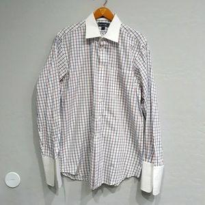 Paul Fredrick Plaid French Cuff Dress Shirt 16.5